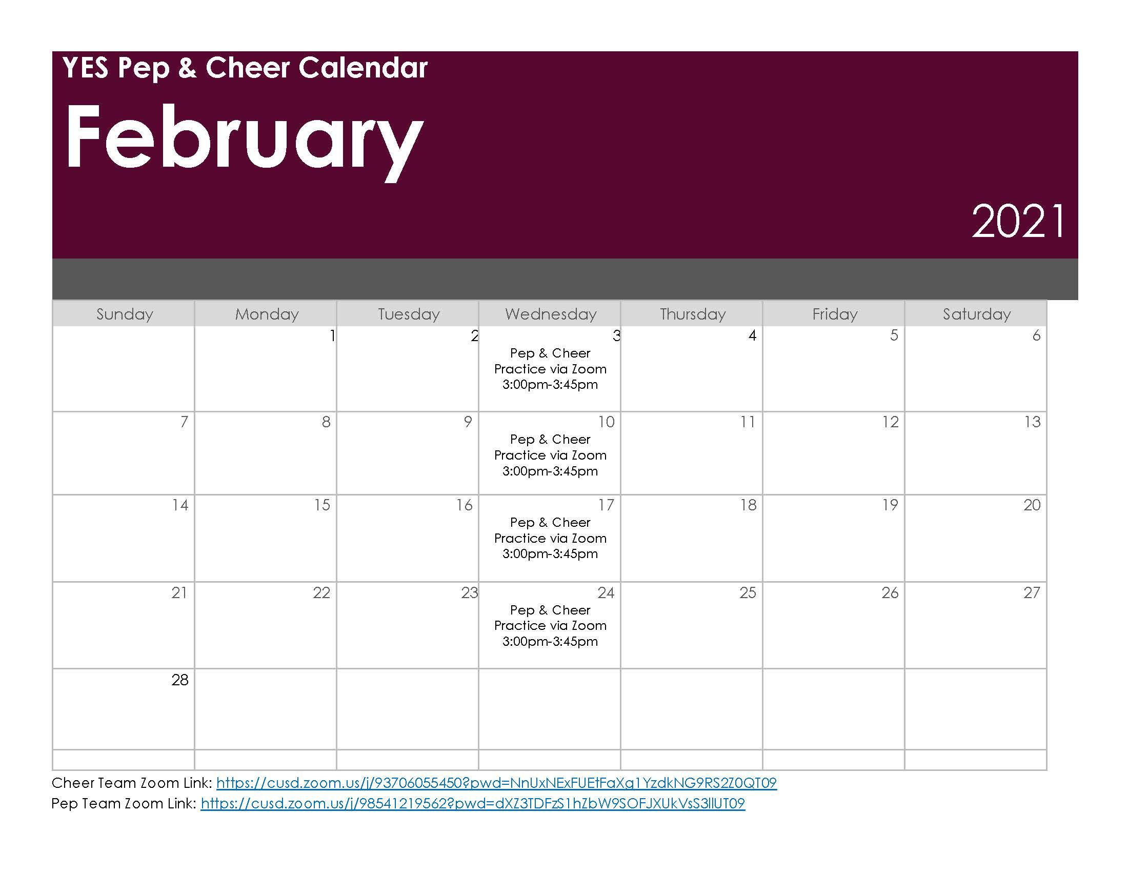 Pep & Cheer Practice Schedule - February 2021