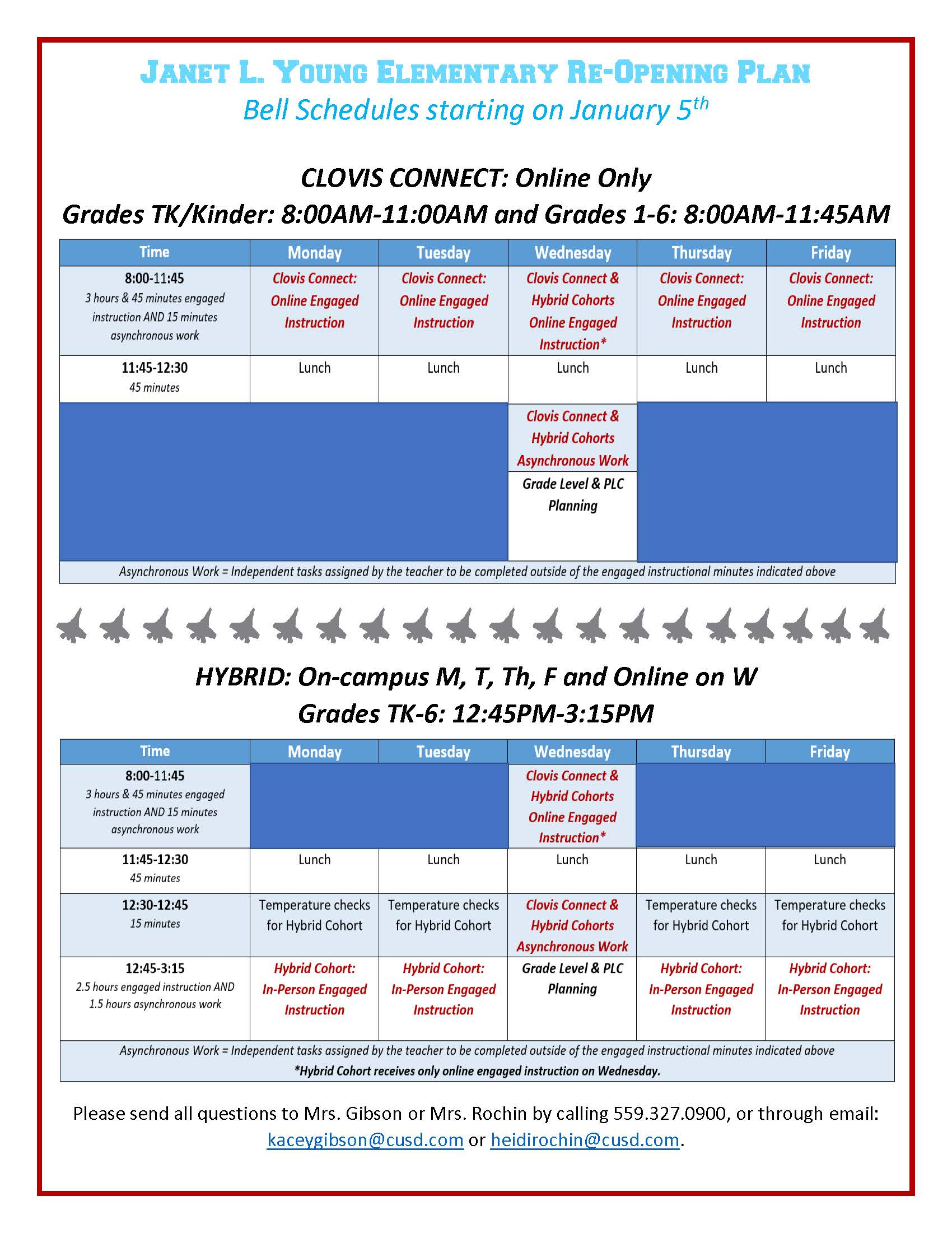 Bell Schedule effective January 5, 2021