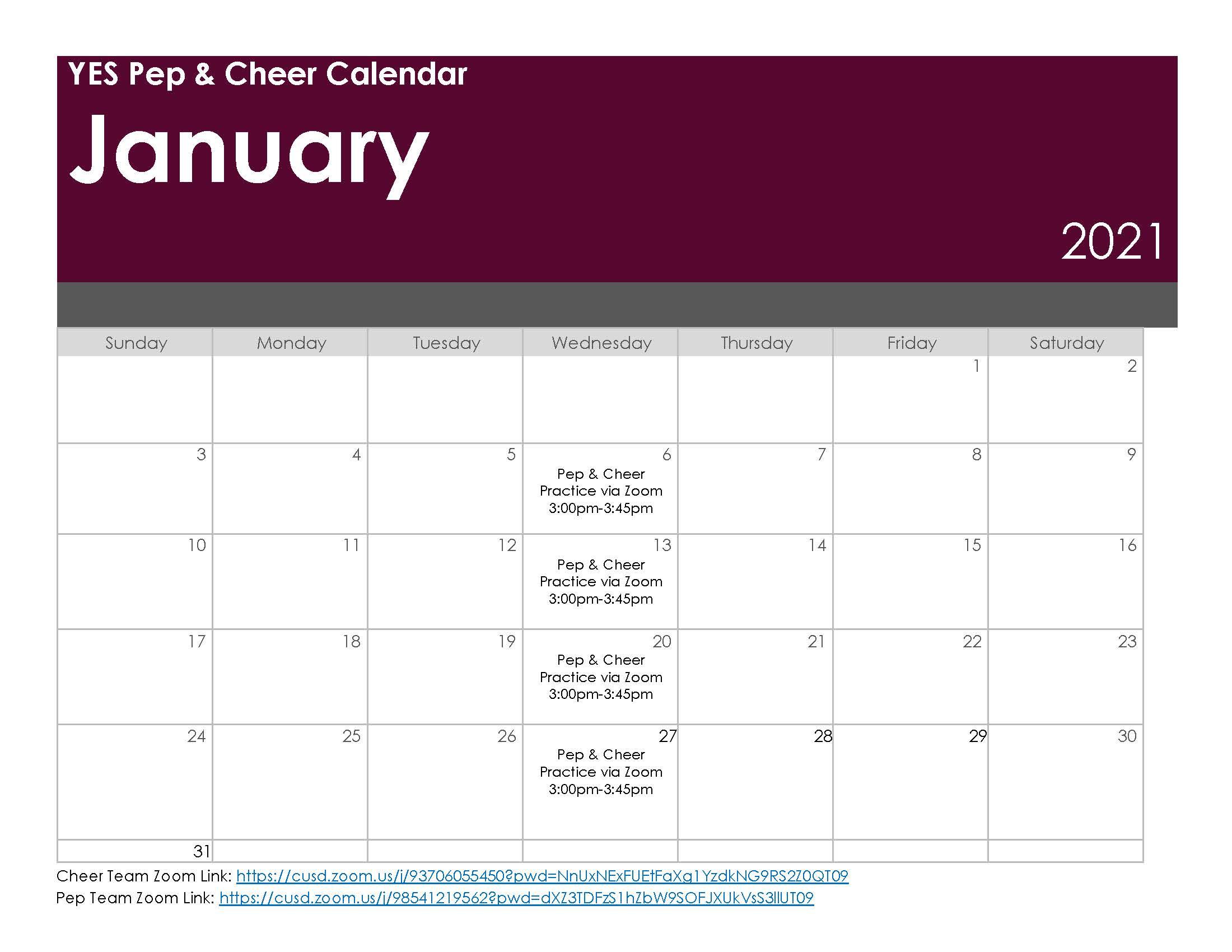 Pep & Cheer Practice Schedule - January 2021