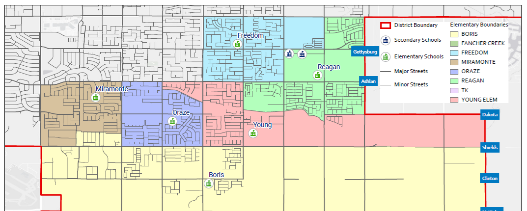 Map of Clovis East Area Boundaries Effective 2020-2021